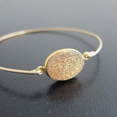 gold drusy bracelet etsy