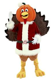 Pumpkin-headed turkey claus