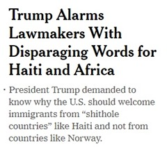 NYT disparaging shithole home page