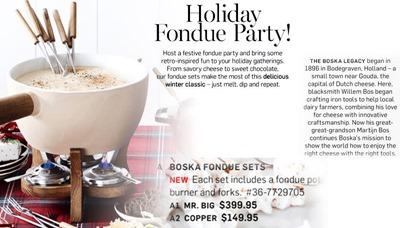 Williams Sonoma holiday fondue party