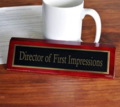 director first impressions nameplate