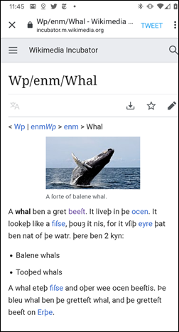 wikipedia middle english whale